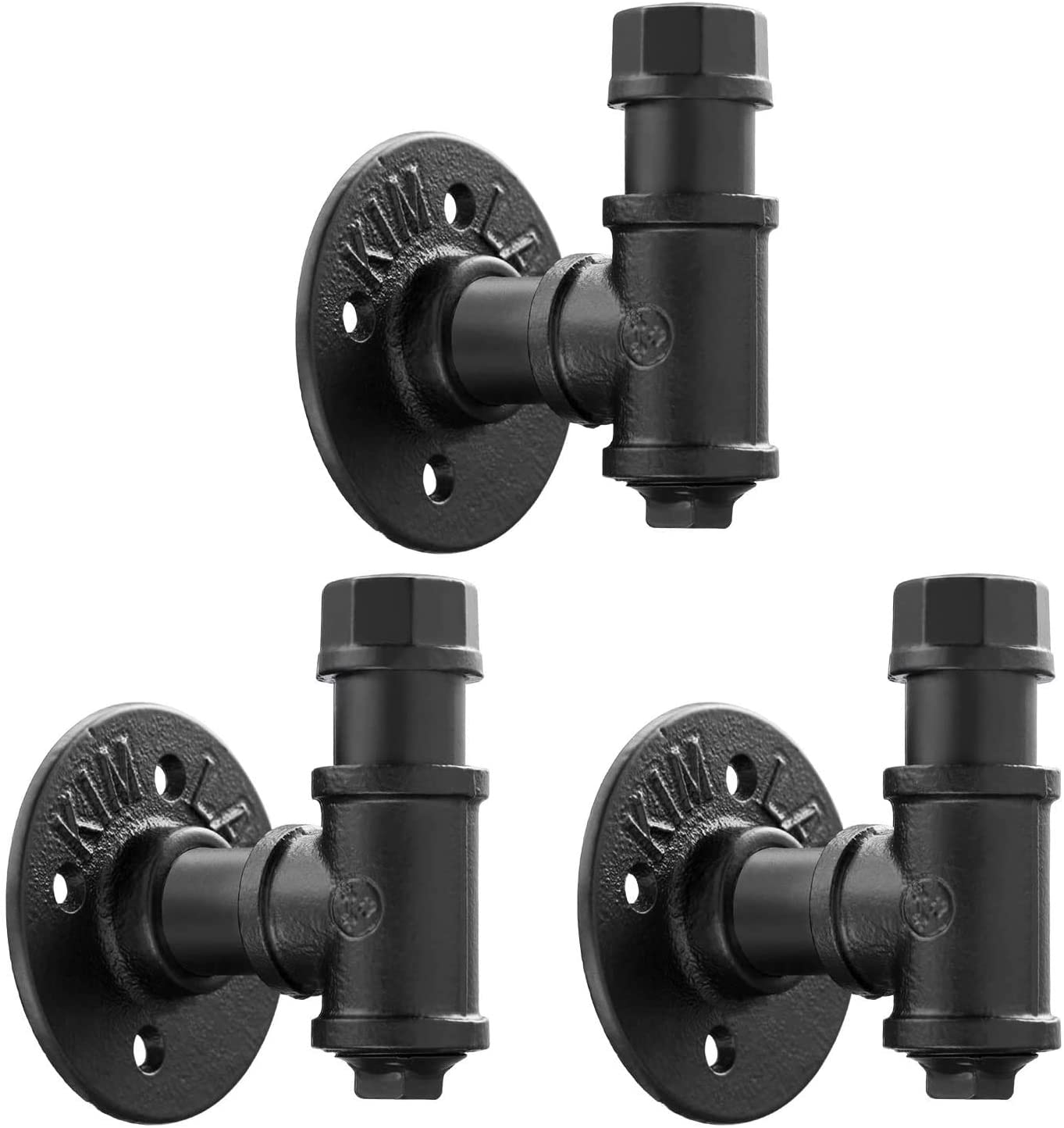 3 Pack Vintage Bathroom Robe and Towel Wall Hooks for Hanging, Elibbren Rustic Style Industrial Iron Pipe Coat Hook Wall Mounted Heavy Duty Farmhouse DIY, Mounting Hardware Included