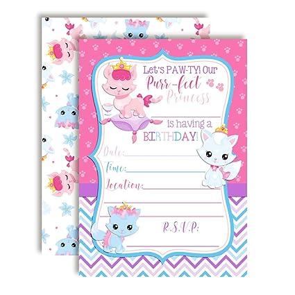 Amazon.com: Princess Kitty Cat Birthday Party Invitations ...