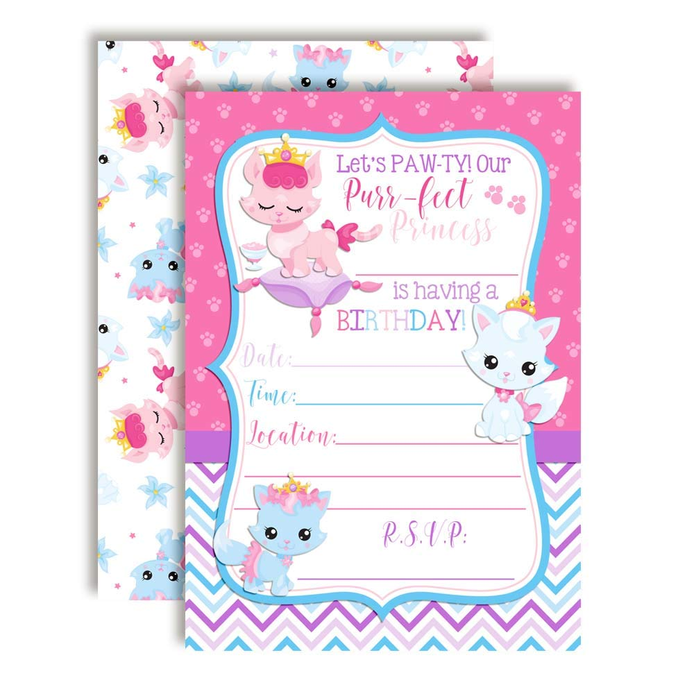 Princess Kitty Cat Birthday Party Invitations for Girls, 20 5''x7'' Fill in Cards with Twenty White Envelopes by AmandaCreation