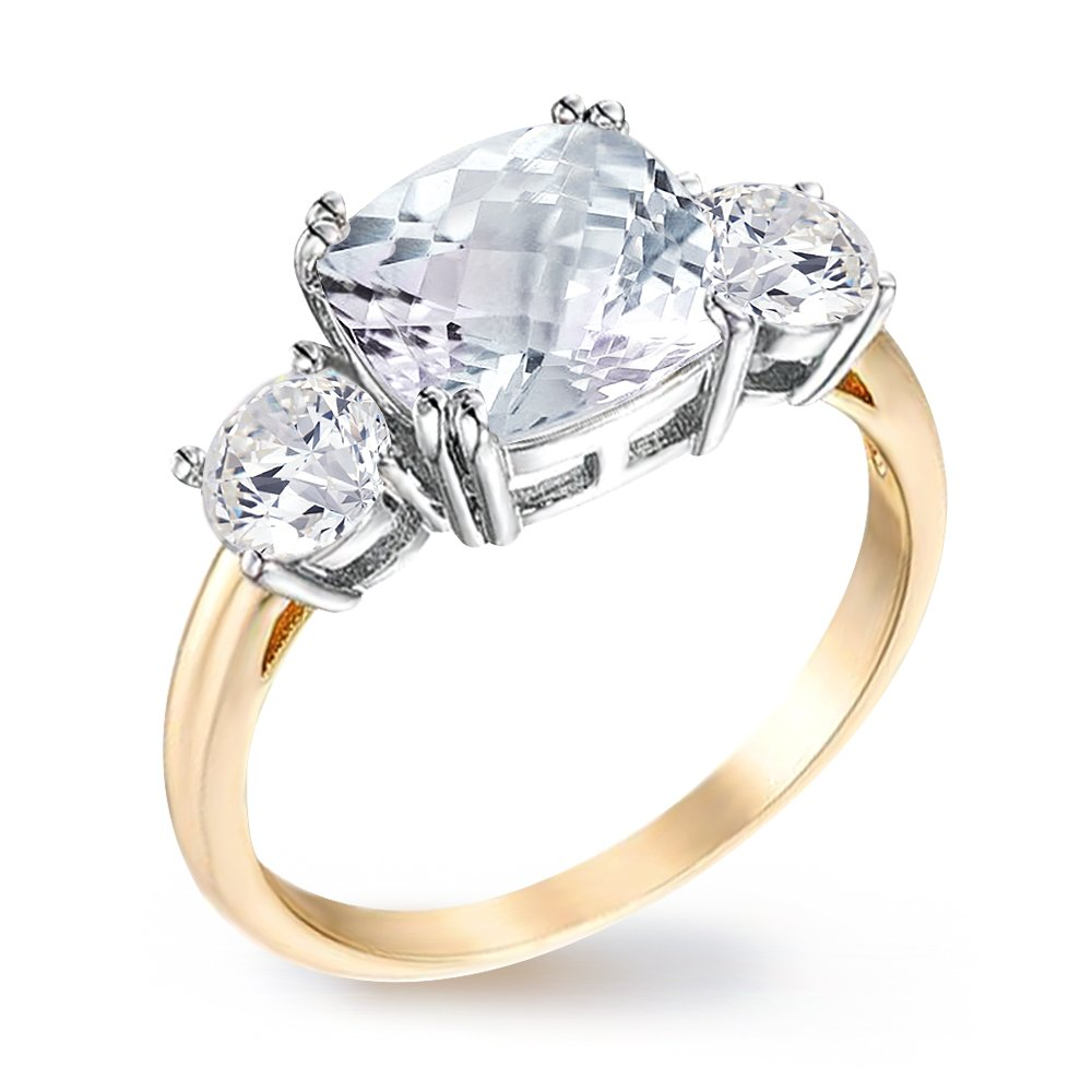 Samie Collection Royal Engagement Ring Inspired Princess Meghan Markle's Wedding 3.67ctw CZ in Genuine Gold Plating