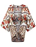 WT1578 Womens Printed Kimono Shawl Cardigan Top - Made in USA OS Rust_Ivory