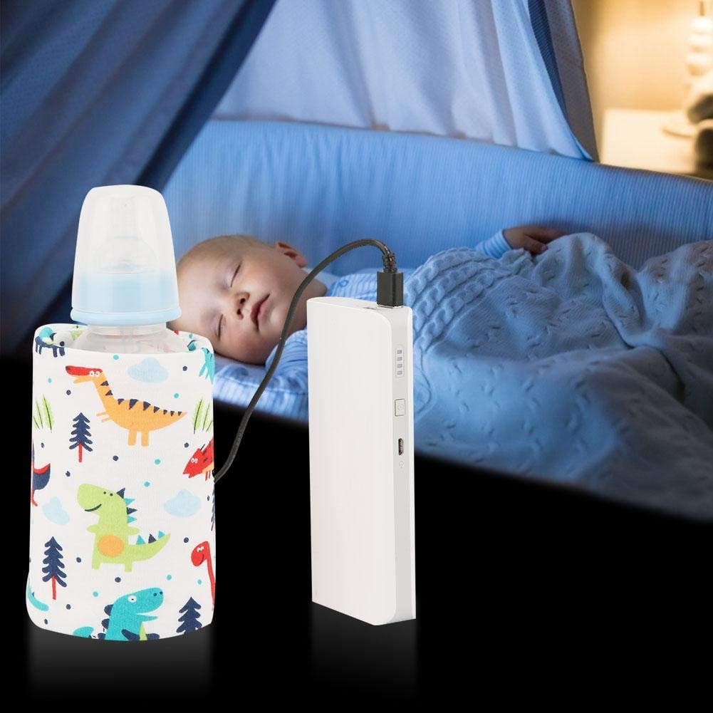 USB Baby Feeding Bottle Warmer Portable Cartoon Milk Bottle Travel Heater Heating Cover Insulation Thermostat for Home Outdoors Travel Donut Pattern