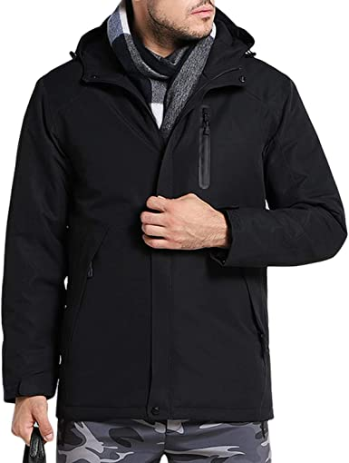 Mens Black Bubble Jacket Coat Detachable Contrast Hood Sizes S M L XL XXL NEW