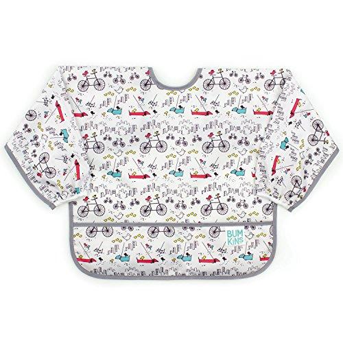 Bumkins  Sleeved Bib / Baby Bib / Toddler Bib / Smock, Waterproof, Washable, Stain and Odor Resistant, 6-24 Months  - Urban Bird