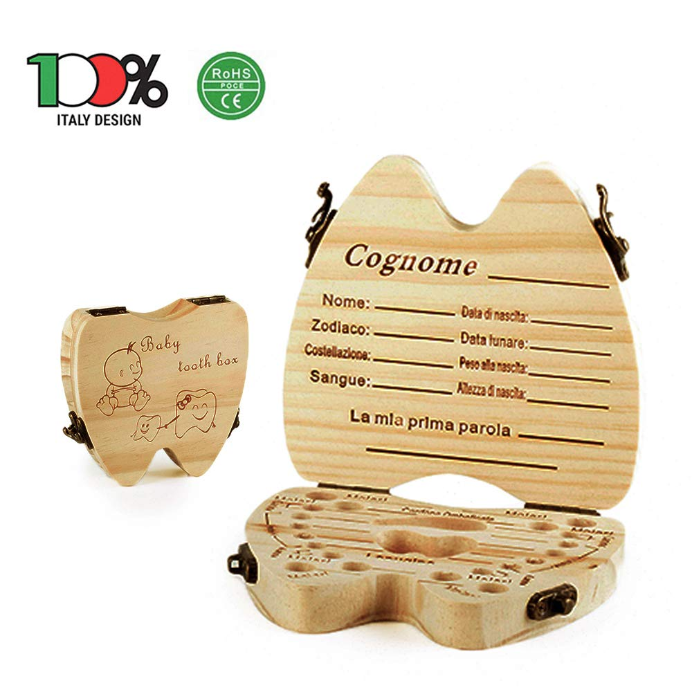 Hypo-allergenic Wooden Milk Teething Holder Great Gift Idea Child Keepsake Box (Italian Version) Toothbox Children Dikiumbrella The Most Beautiful Fanciulity