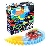 220 Pieces Flexible Track Glow in The Dark Track with 1 Light up LED Race Car for Kids by Mibote