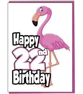 Pink Flamingo 22nd Birthday Card