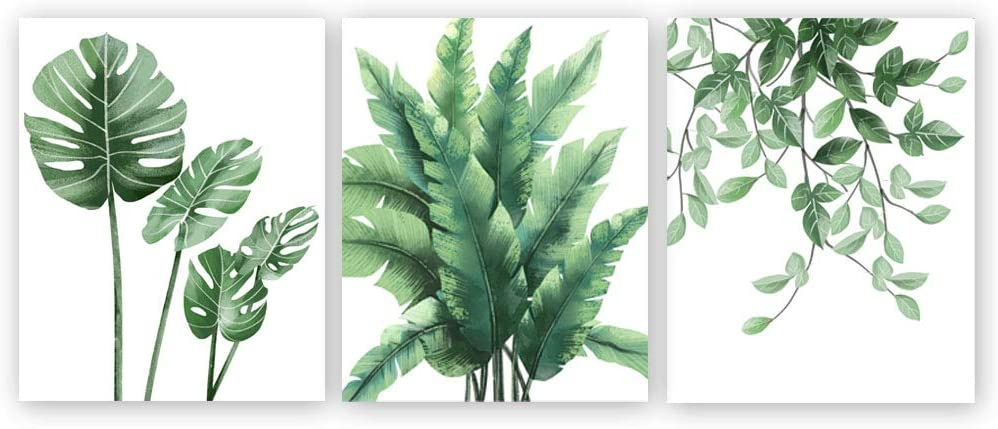 Tropical Green Leaves Art Print,Botanical Wall Art Painting,Signs Of Nature Set of 3(8''x10'') Canvas Herb Plant Picture For Living Room Decor