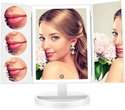 FASCINATE Large Lighted Makeup Vanity Mirror X-Large Model , Trifold Vanity Mirror with Lights 10X 5X 3X Magnification, Touch Screen, 360 Free Rotation, Double Power Supply Light Up Mirror White