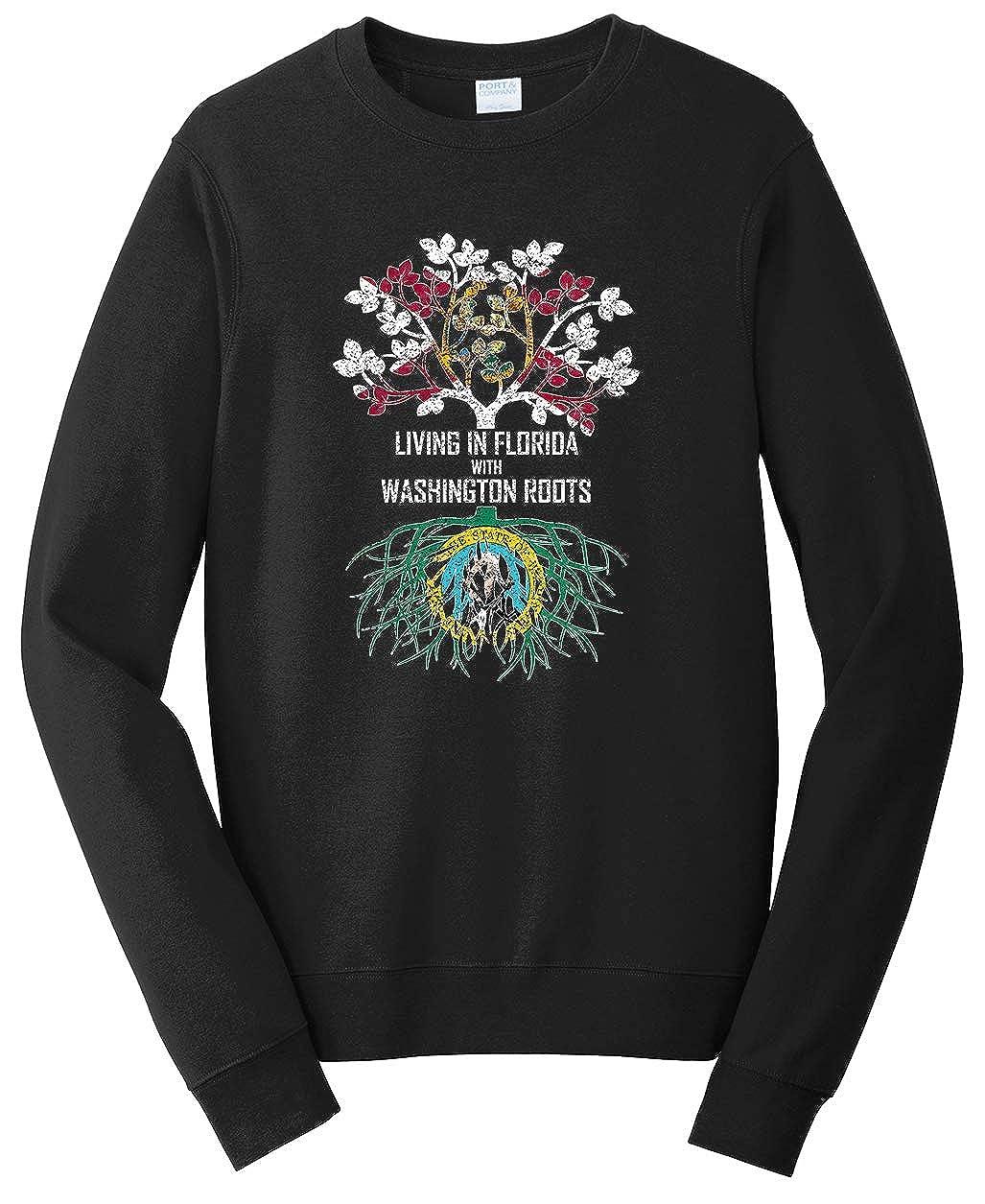 Tenacitee Unisex Living in Florida Washington Roots Sweatshirt