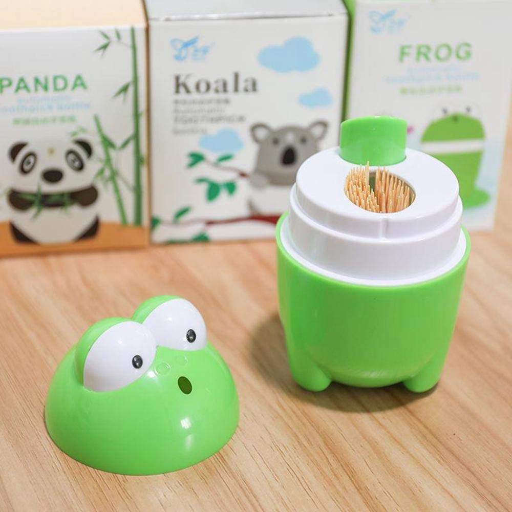 Automatic Cute Frog Toothpick Holder Smart Funny Portable Plastic Toothpicks Organizer Storage Box Case Home Bar Kitchen Table Accessories Push Toothpick Dispenser