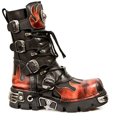 8abc2549ecd Amazon.com | New Rock Newrock 591-S1 Red Flame Metal Black Leather ...