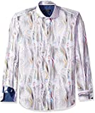 Bugatchi Men's Long Sleeve Fitted Spread Collar Moire Texture Shirt, Candy, XXL