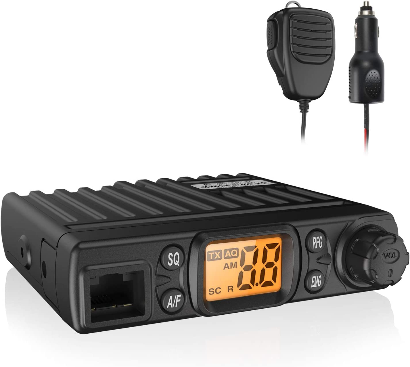 Radioddity CB-27 CB Radio Mobile 40-Channel, AM Instant Emergency Channel 9/19, RF Gain with Removable Microphone