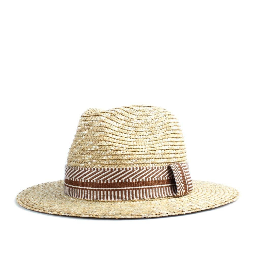 Gobling New 2019 Ladies Men Sun Hat Straw Two-Color Striped Print Fashion Plain Sun Hat Panama Hat Beach (Color : Coffee, Size : 56-58CM)