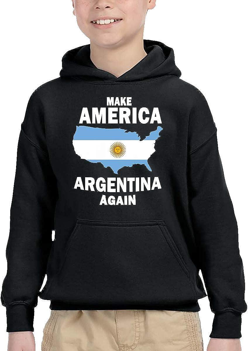 UGFGF-1S Make America Argentina Again Toddler Boys Girls Long Sleeve Sweatshirts Hooded Hoodie 2-6T
