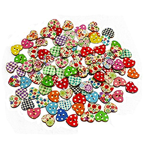 - 100pcs Multicolored Heart Shaped 2 Holes Wood Sewing Buttons