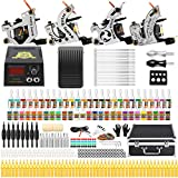 Solong Tattoo Complete Starter Beginner Tattoo Kit 4 Pro Machine Guns 54 Inks Power Supply Foot Pedal Needles Grips Tips TK459