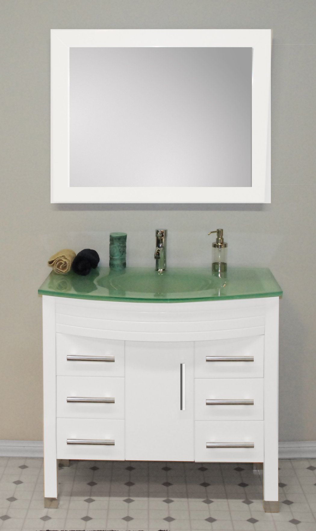 36 Inch White Solid Wood & Tempered Glass Single Basin Sink Bathroom Vanity Set- ''Thayer'' (Chrome Faucet) by The Tub Connection