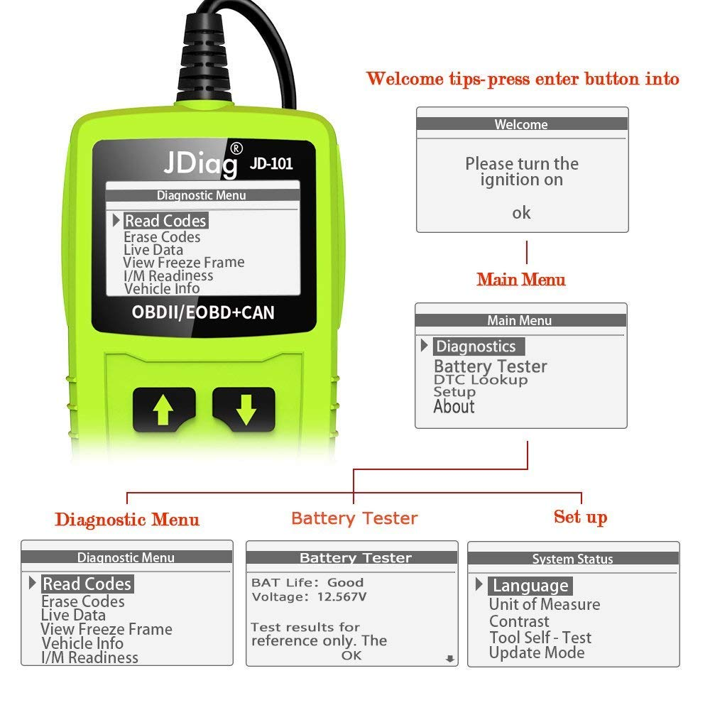 JDiag OBD2 Scanner Auto Check Car Engine Fault Code Reader Enhanced Universal OBD II Classic Diagnostic Scan Tool Suitable for EOBD/CAN Vehicles by JDIAG (Image #6)