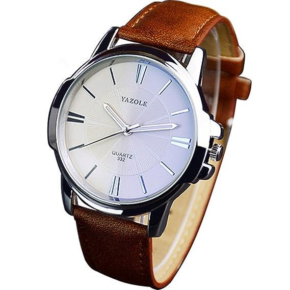 Yazole 332 Hombres Relojes lujo famoso macho reloj reloj de cuarzo reloj de pulsera de piel