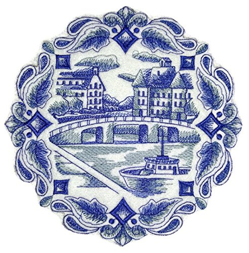 Custom and Unique Shades Of Blue[ Delft Blue Canal Scene ] Embroidered Iron on/Sew patch [6.89