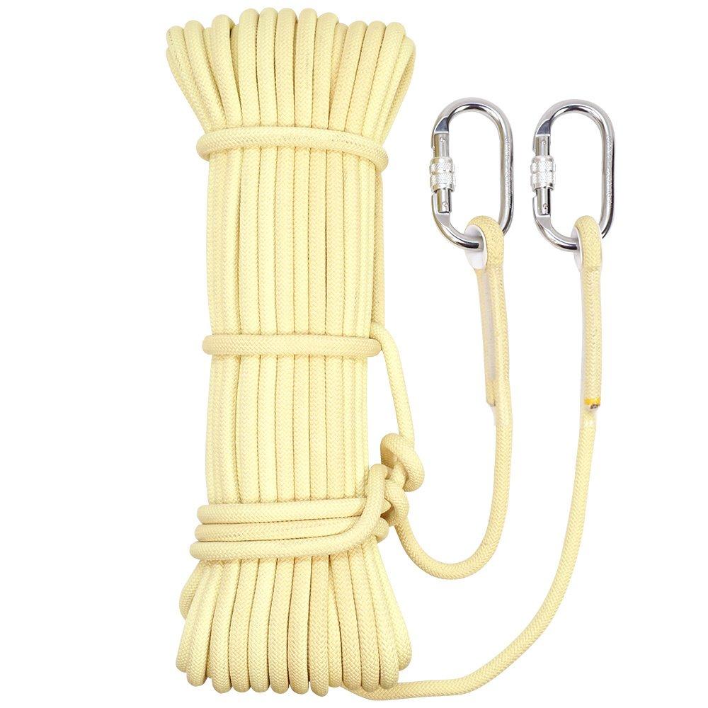 Jaune ANHPI Corde Escalade Résistant à Usure Chute Rapide Cordes Statiques Retardateur De Flamme Retardateur De Flamme Corde,jaune-10m8mm 30m8mm