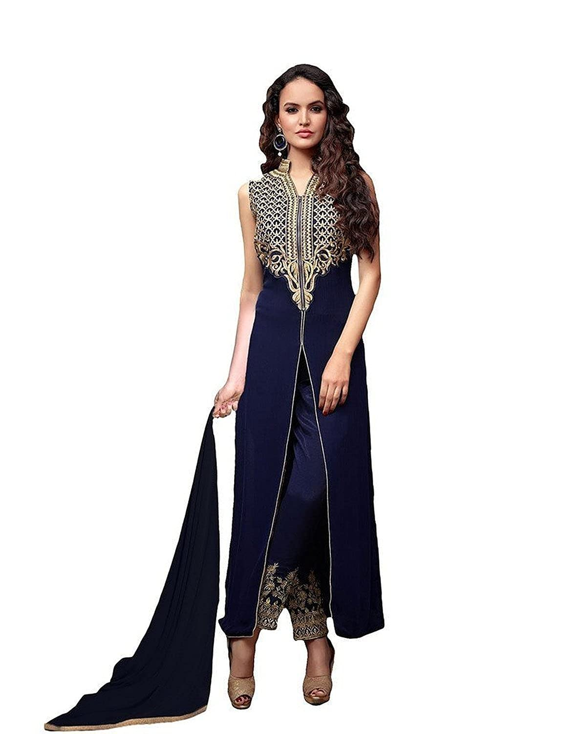 6bfaaf072f Amazon.com  RUHANI Women s Anarkali Salwar Kameez Designer Indian Dress  Bollywood Ethnic Party One Size Blue  Clothing
