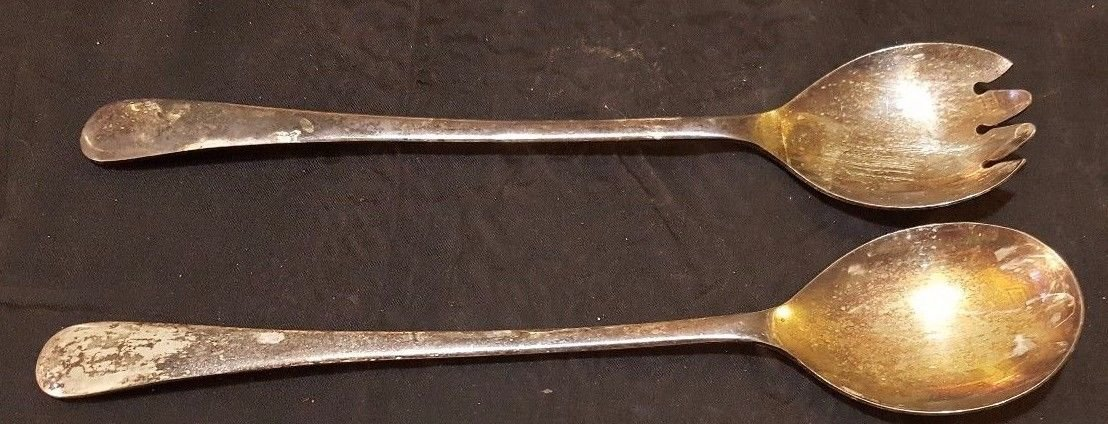Antique SHEFFIELD ENGLAND 9.5'' Silverplate Salad Serving Spoon and Spork
