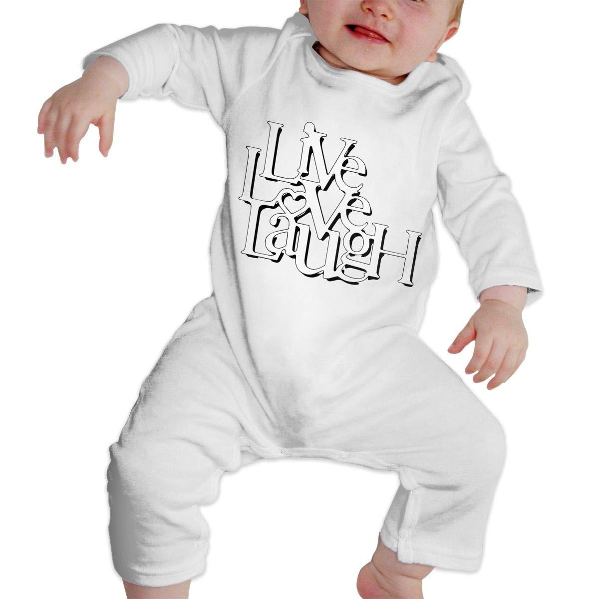 Infant Babys Cotton Long Sleeve Live Love Laugh Romper Bodysuit Funny Printed Romper Clothes