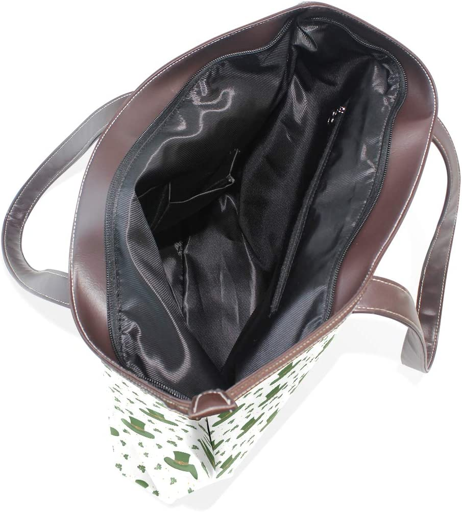 Womens Leather Chicago St Patricks Day With Clover Green Handbag Satchel Tote Bag Tote Purse