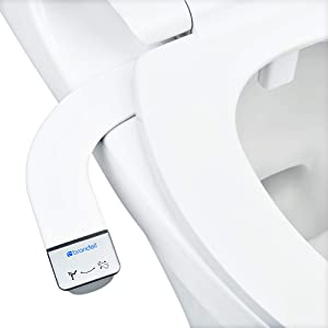 Brondell Bidet - Thinline SimpleSpa SS-150 Fresh Water Spray Non-Electric Bidet Toilet Attachment in White with Self Cleaning Nozzle and SafeCore Internal Valve