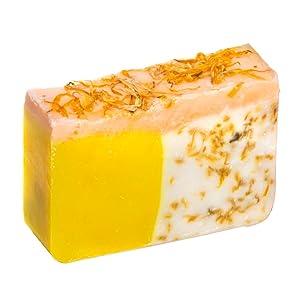 Orange Soap with Calendula Oil (4Oz) - Handmade Soap Bar with Orange, Yuzu and Calendula Essential Oils, flower petals - Organic and All-Natural – by Falls River Soap Company