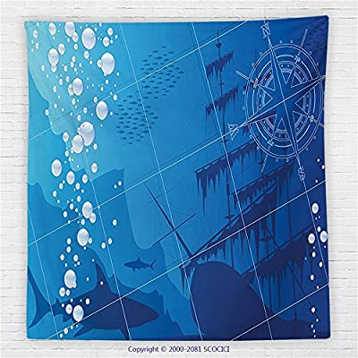 59 x 59 Inches Nautical Decor Fleece Throw Blanket Underwater with Sharks old Ship and Compass Rose Deep Water Bubbles Blanket