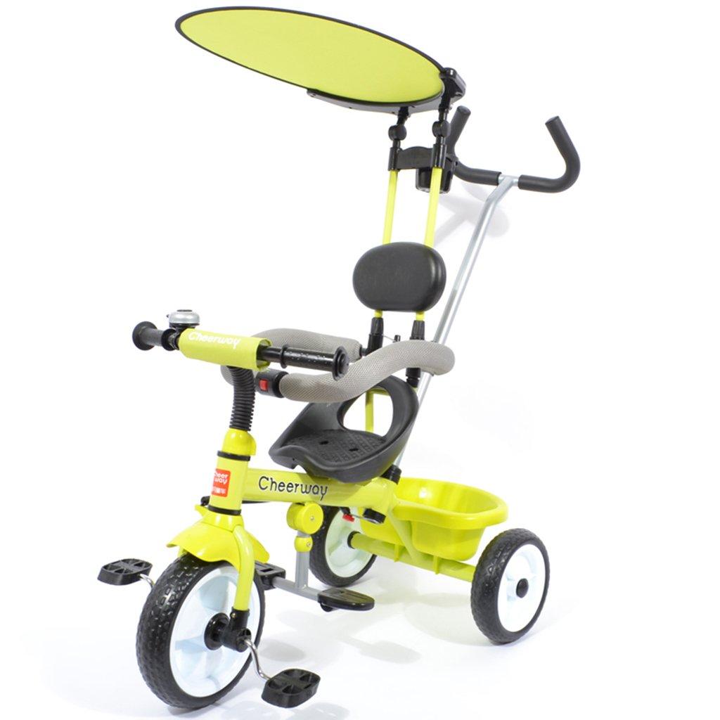 HAIZHEN マウンテンバイク 子供の三輪車の鉄フレーム自転車16歳の泡ホイールトロリー調整の天井を持つプッシャーコントロール方向ペダルカー 新生児 B07DL6N7Z1 緑 緑