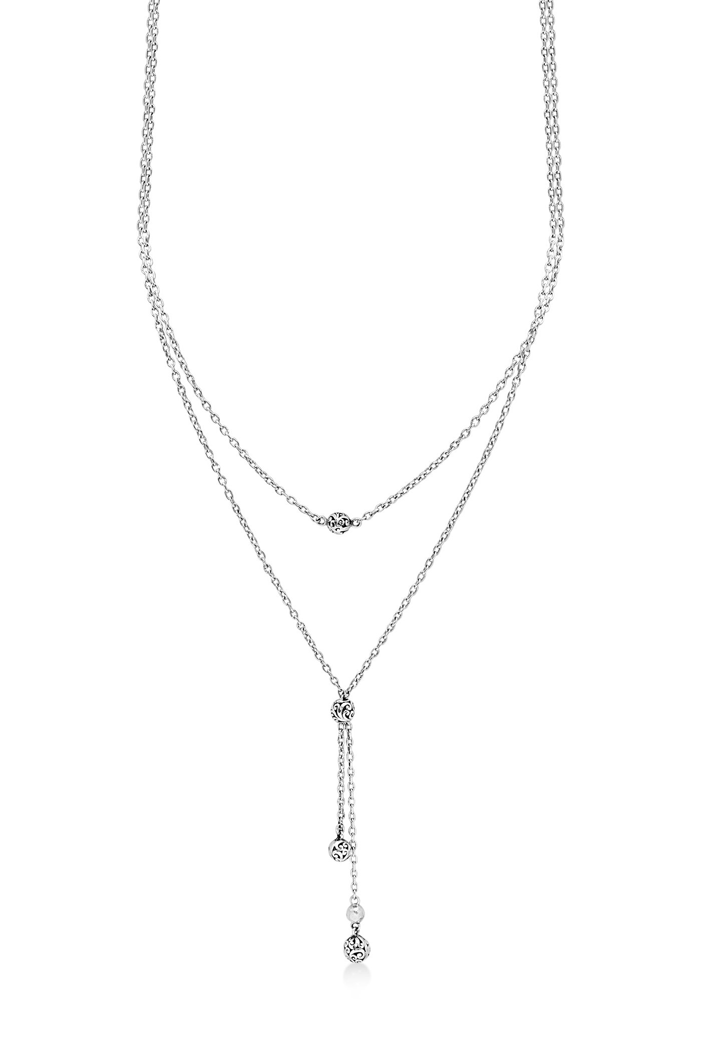 Lois Hill '' Choker'' Sterling Silver Handcrafted Scroll Beads, Dbl Layered Necklace , 14''