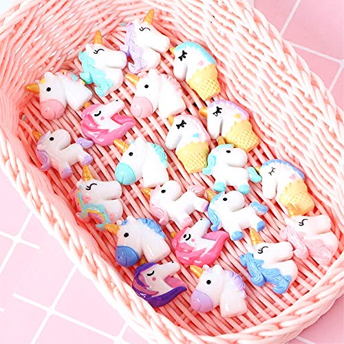 40pcs Unicorn Slime Charms, Assorted Styles Resin Flat Back Beads Buttons, for DIY Craft Making Scrapbooking