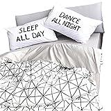 3pc Bedding Set Reversible Duvet Cover & Pillow Sham Twin White-Black Deal