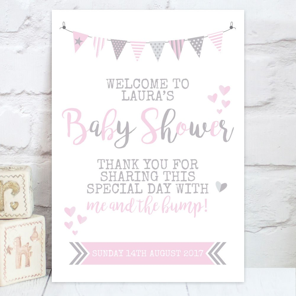 Personalised Baby Shower Welcome Table Sign (BS2): Amazon.co.uk ...