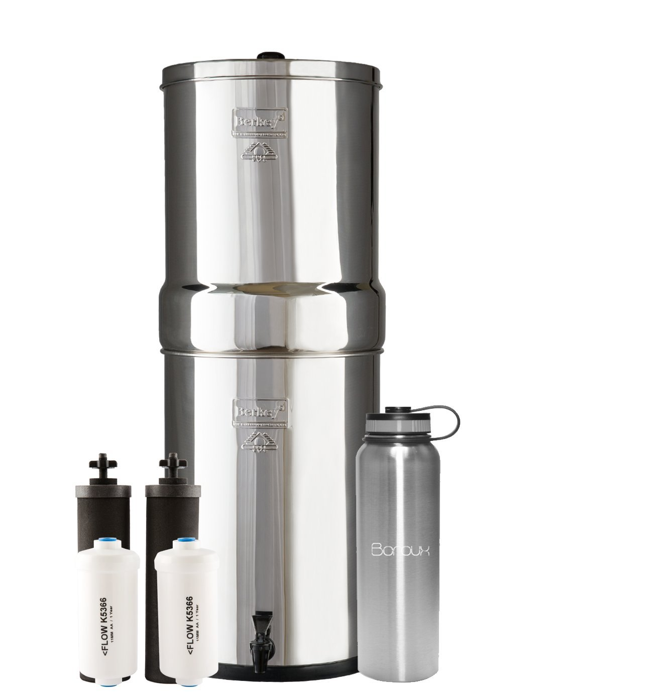 Crown Berkey Water Filter System includes Black Filters and Fluoride Filters (6 Gallon) bundled with Boroux 40 oz Stainless Steel Double Wall Bottle