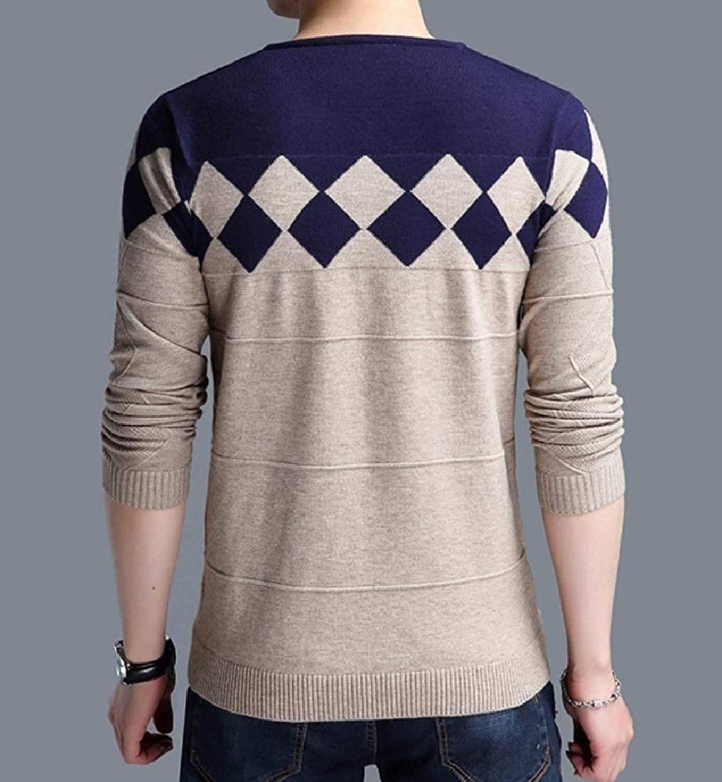 Abetteric Mens V Neck Plus Size Knit Sweater Spell Color Pullover