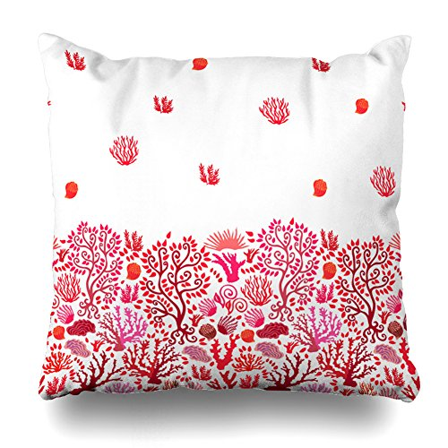 Kutita Decorativepillows Covers 20 x 20 inch Throw Pillow Covers,Small Corals Artsy Red and White Border Pattern Double-Sided Decorative Home Decor Pillowcase Sofa Bedroom Car