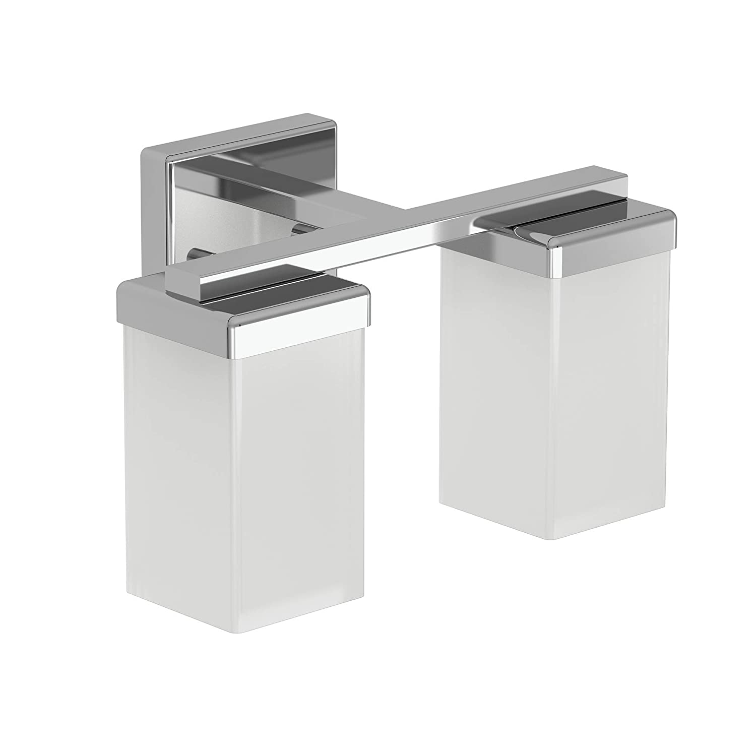 Moen YB8862CH 2-Light Dual-Mount Bath Bathroom Vanity Fixture with Frosted Glass, Chrome