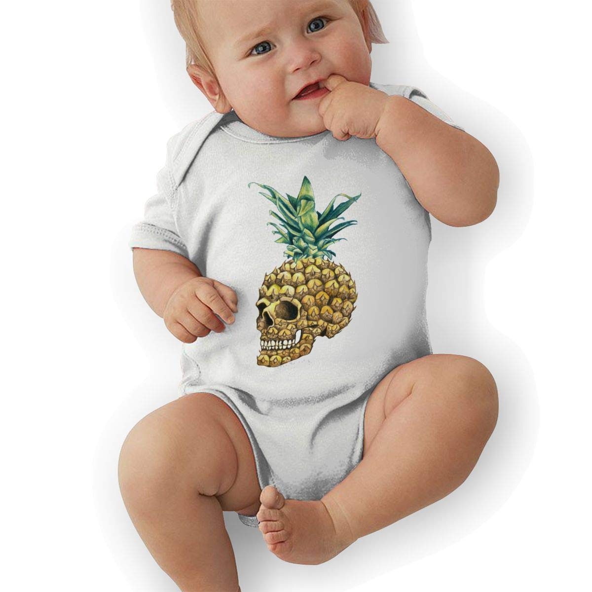 BONLOR Pineapple Skull Baby Rompers One Piece Jumpsuits Summer Outfits Clothes White