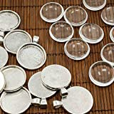 PEPPERLONELY Brand 10 Sets Antiqued Silver Cabochon Frame Setting Tray Pendant with Clear Round Glass Dome Tile Cabochon 30mm (1-1/6 Inch)