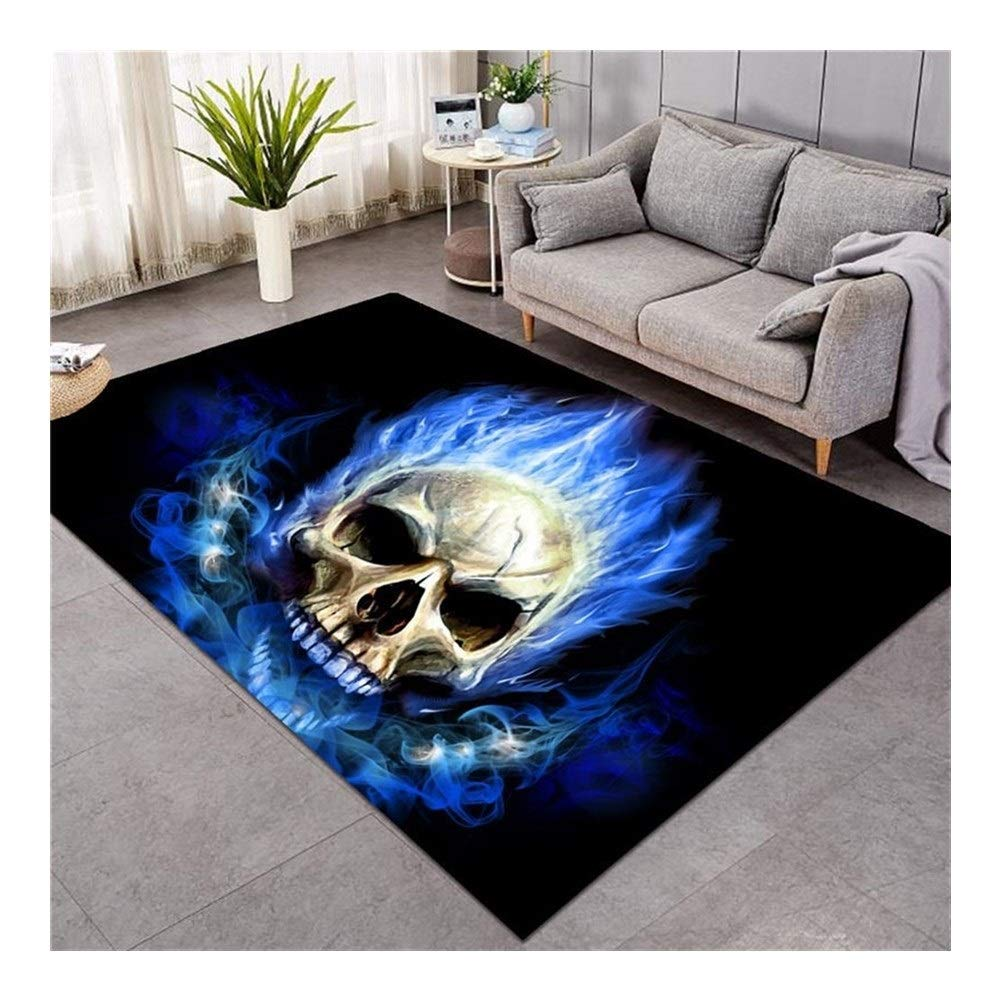 Size : 91x152cm ZMK-720 Area Rugs Bedding 3D Printed Area Rugs Flame Skull Gothic Rectangular Carpets Blue Fire Modern Anti-slip Decorative Floor Mat 3 Size