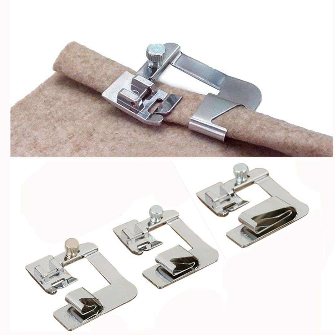 Windman 3 Sizes Wide Rolled Hem Pressure Foot Sewing Machine Presser Foot Hemmer Foot Set 1/2 Inch, 3/4 Inch, 1 Inch Low Shank Sewing Machine Presser Foot for Brother Singer