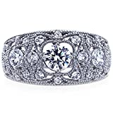 Sterling Silver Round CZ Filigree Vintage Style Wedding Anniversary Ring ( Size 5 to 9 ), 9