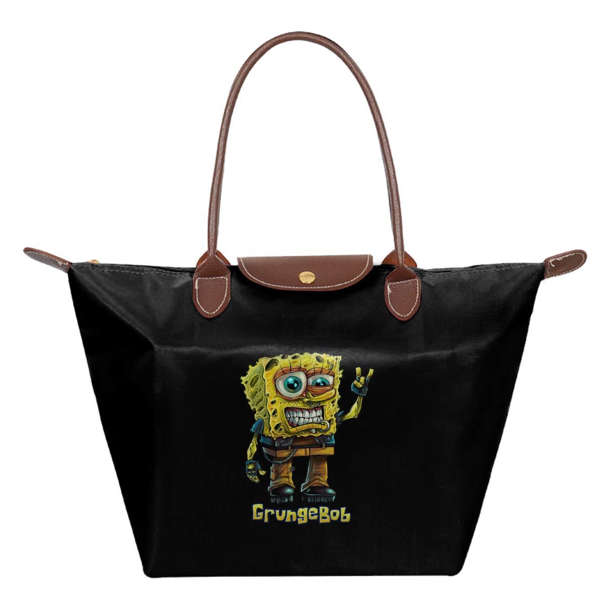 Spongebob Parody Grungebob Waterproof Leather Folded Messenger Nylon Bag Travel Tote Hopping Folding School Handbags