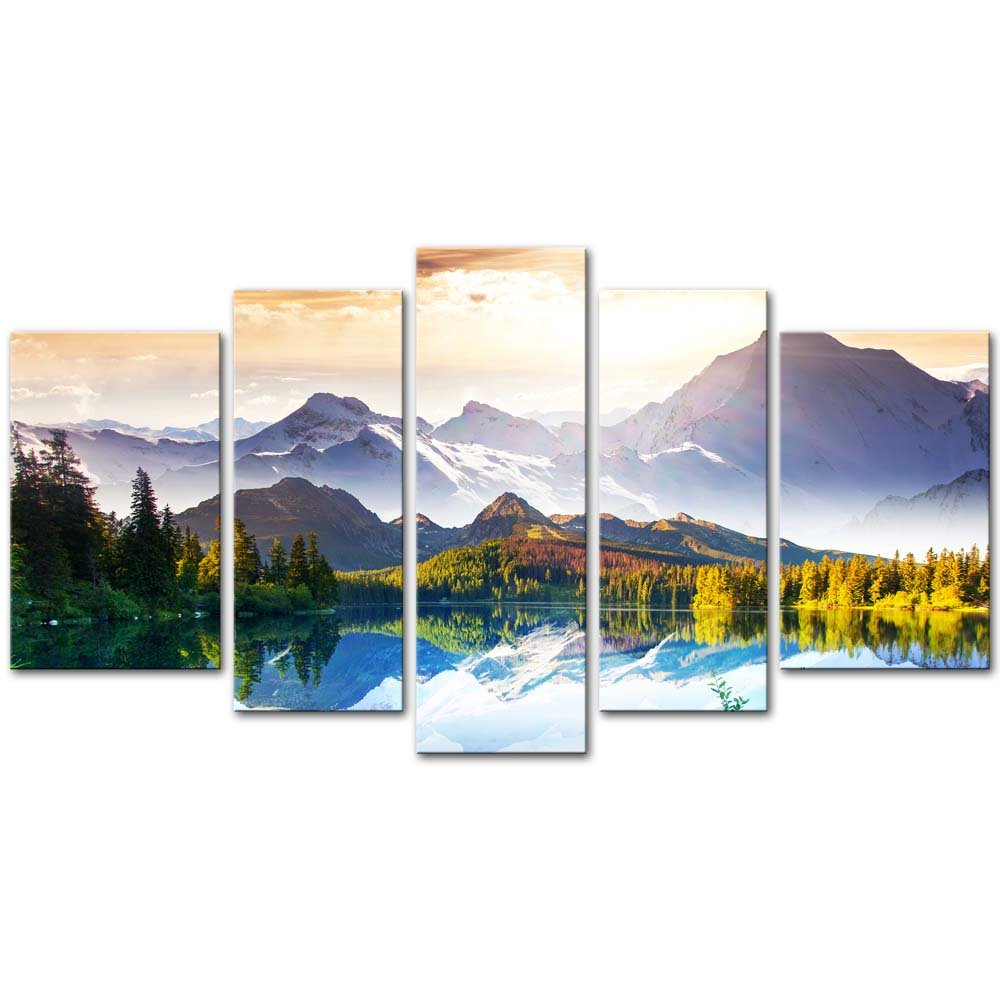 5 Pieces Modern Canvas Painting Wall Art The Picture For Home Decoration Fantastic Sunny Day Is In Mountain Lake Beauty World Landscape Mountain&Lake Print On Canvas Giclee Artwork For Wall Decor by My Easy Art B0122D33GU
